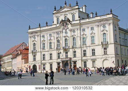 Prague, Czech Republic - April 04, 2010. Archbishop Palace, Famous Building At The Main Entrance Of