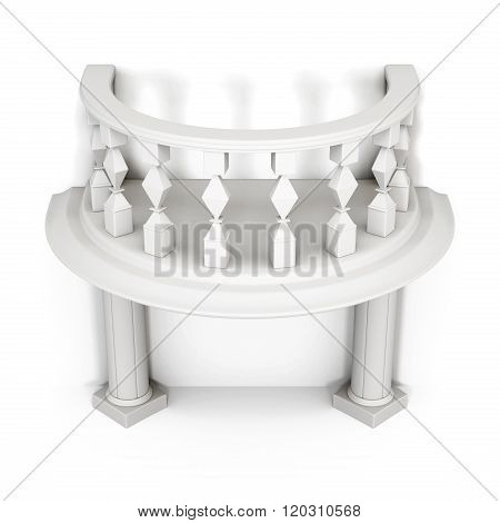 Balcony with columns and balusters on a white background. 3d ren