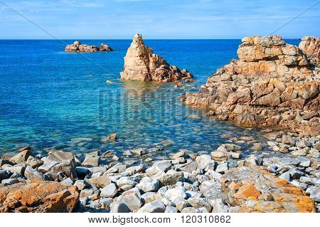 Rocky Beach On Pink Granite Coast, Brittany, France