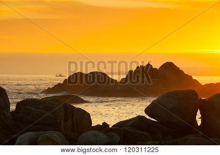 Sunset On Con Negro Coast In Galicia