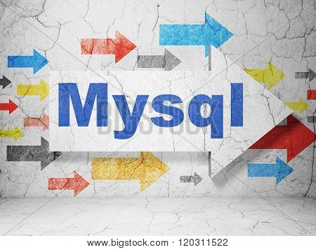 Programming concept: arrow with MySQL on grunge wall background