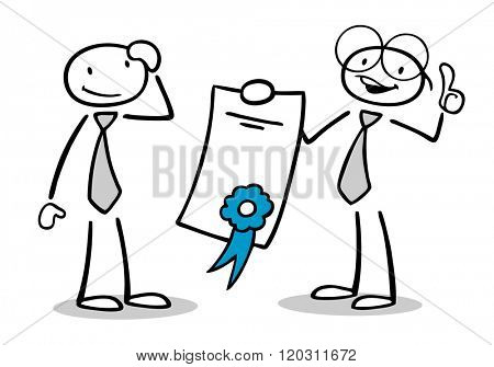 Two cartoon people with certificate or diploma holding thumbs up