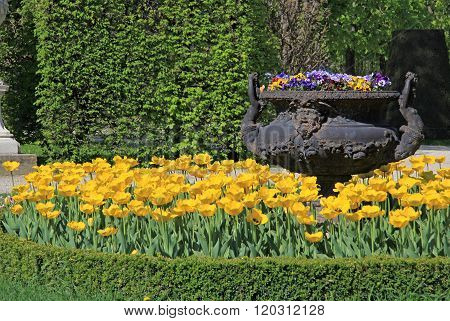 Vienna, Austria - April 26, 2013: Garden At Schonbrunn Palace In Vienna, Austria