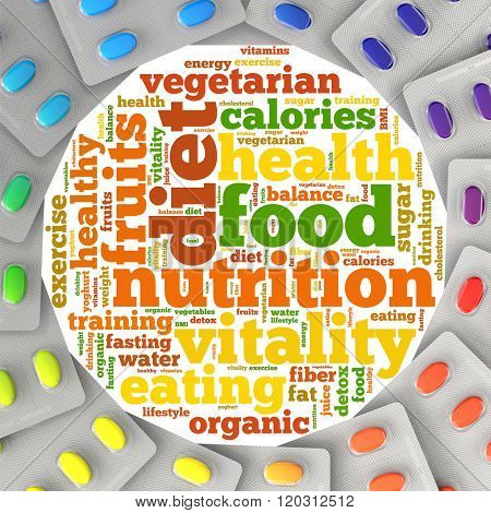 Diet and nutrition tag cloud with nutritional supplements (3D Rendering)