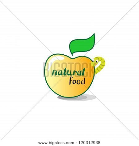 Apple With Worm Healthy Natural Food Concept Icon