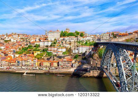 Bridge of Luis I over Douro river Porto Portugal