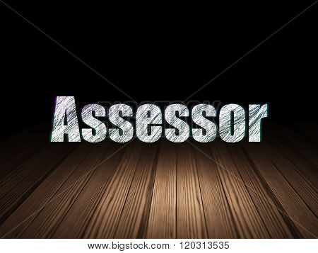 Insurance concept: Assessor in grunge dark room