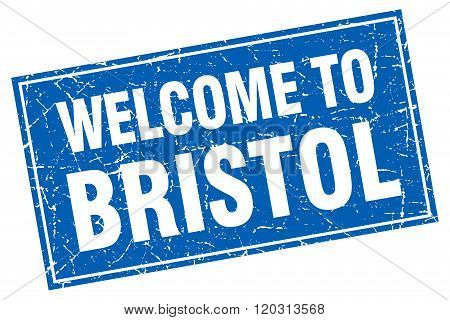 Bristol blue square grunge welcome to stamp