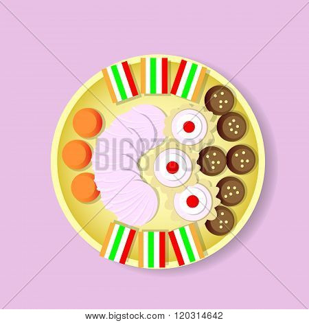 Plate With Sweets Candy, Biscuit, Fruit Jelly, Zephyr Top View