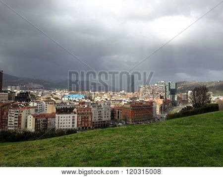 Panoramic view of Bilbao, Spain.