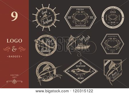 Vector set of seafood labels and signs. Collection of Seafood Restaurant Badges symbols and Icons in Vintage Style - Stock Vector.