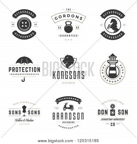 Vintage Logos Design Templates Set. Vector design elements