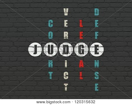 Law concept: Judge in Crossword Puzzle