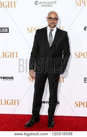 NEW YORK-OCT 27: Actor Stanley Tucci attends the 'Spotlight' New York premiere at Ziegfeld Theatre on October 27, 2015 in New York City.