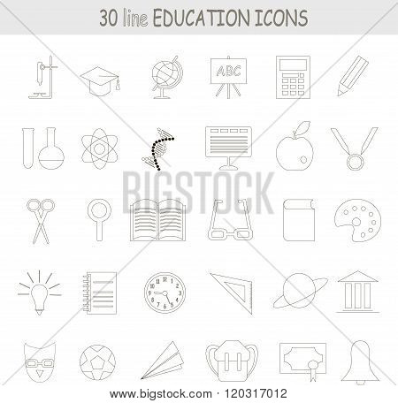 Education line icons, black outline on white