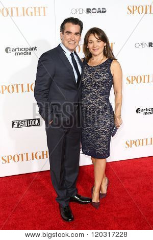NEW YORK-OCT 27: Actor Brian d'Arcy James (L) and Jennifer Prescott attend the 'Spotlight' New York premiere at Ziegfeld Theatre on October 27, 2015 in New York City.