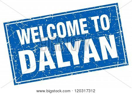 Dalyan Blue Square Grunge Welcome To Stamp