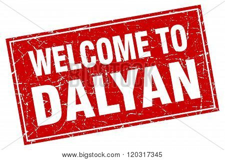 Dalyan Red Square Grunge Welcome To Stamp