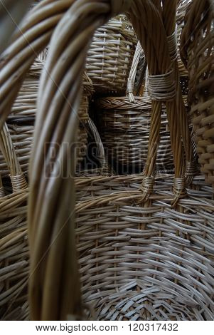 Ttraditional folks craft. Wicker baskets with handle closeup stock photos
