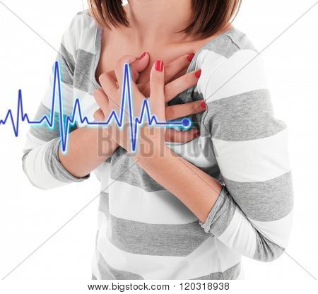 Woman having chest pain - heart attack.