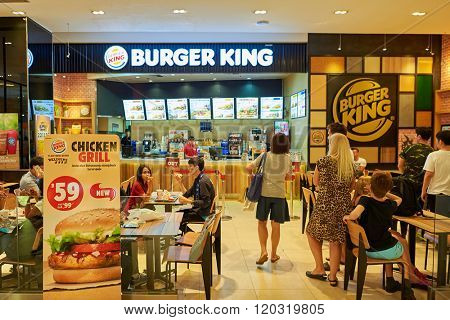 BANGKOK, THAILAND - JUNE 21, 2015: interior of Burger King restaurant. Burger King, often abbreviated as BK, is a global chain of hamburger fast food restaurants.