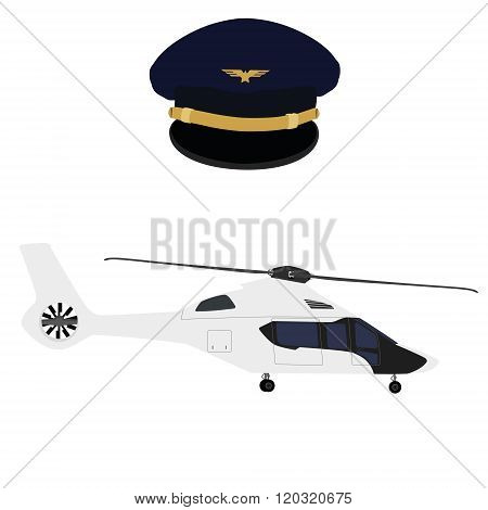 Helicopter And Pilot Cap