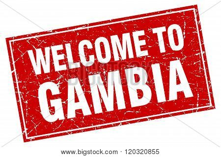 Gambia Red Square Grunge Welcome To Stamp