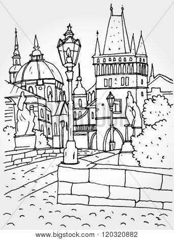 Prague Landscape Hand Drawn