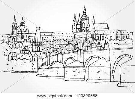Urban Landscape Hand Drawn