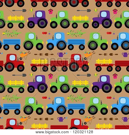 Seamless, Tileable Vector Tractor or Farm Themed Background