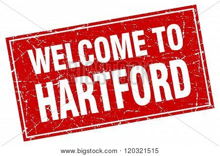 Hartford Red Square Grunge Welcome To Stamp