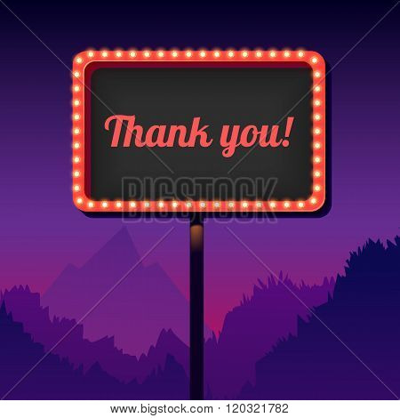 Vintage advertising road billboard with lights. Retro 3d sign. Thank you.