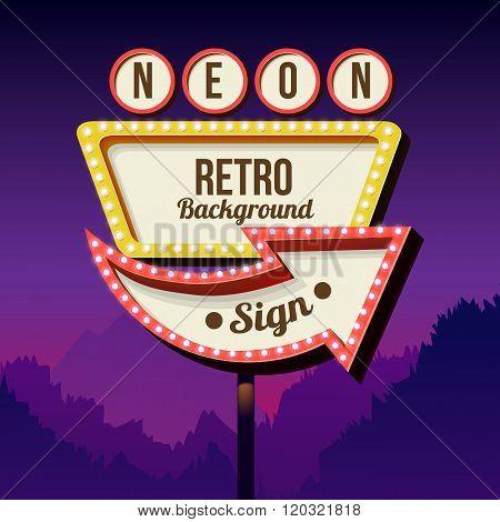 Vintage advertising road billboard with lights. Retro 3d sign.