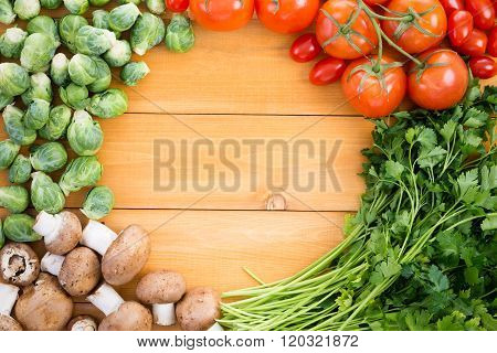 Healthy Border Of Fresh Vegetables For Cooking