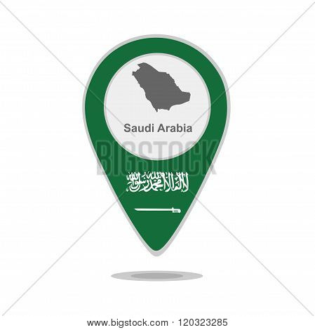 A pointer with map and flag of Saudi Arabia