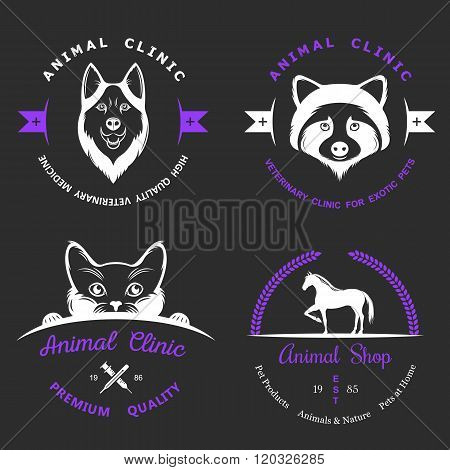 Set of vintage logo and logotype elements for pet shop pet house pet and exotic animals clinic.