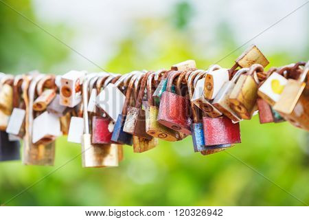 Rusty Padlocks Hang On Sling