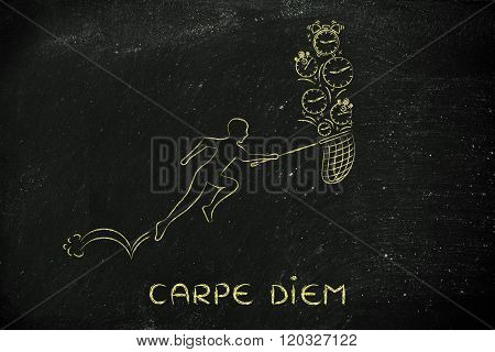 Man With Net Running To Catch Time (clocks And Alarms), Carpe Diem