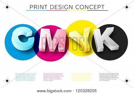 Cmyk Print Concept With 3D Letters