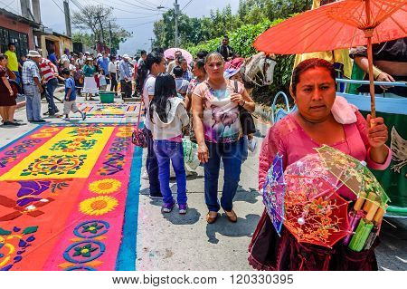 Holy Week Carpets & Parasol Seller, Antigua, Guatemala