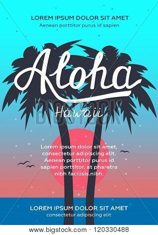 Aloha Hawaii Sunrise Beach Party Poster And Flyer. Hand Lettering.