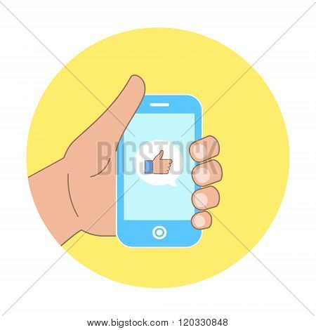 Vector flat concept - hand with mobile phone of message with like icon on yellow circle background f