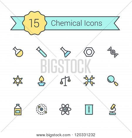 Science line icon set. Chemical icons of molecule, tube, flask, benzene, magnifying glass, microscop
