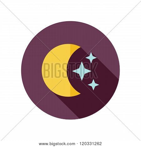 Moon And Stars Flat Icon. Meteorology. Weather