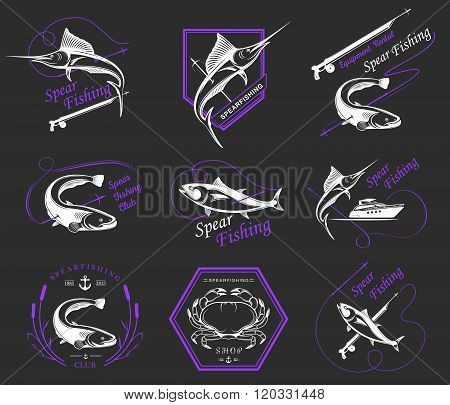 Big set of logos badges stickers and prints spearfishing isolated. Premium vector label for spearfishing and underwater swimming - Stock Vector