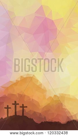 Easter scene with cross. Jesus Christ. Polygonal vector design.