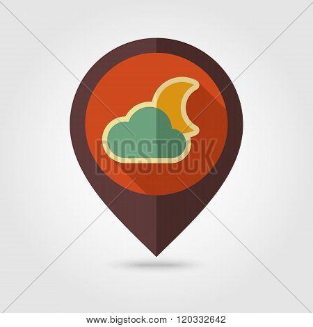 Cloud Moon Retro Flat Pin Map Icon. Weather