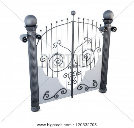 Metal gate with ornament on white background. 3d rendering