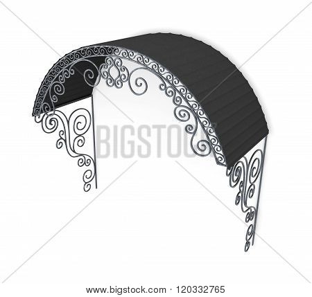 Wrought iron canopy on a white background. 3d rendering
