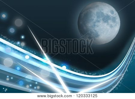 Blue Moon On The Abstract Cosmic Background